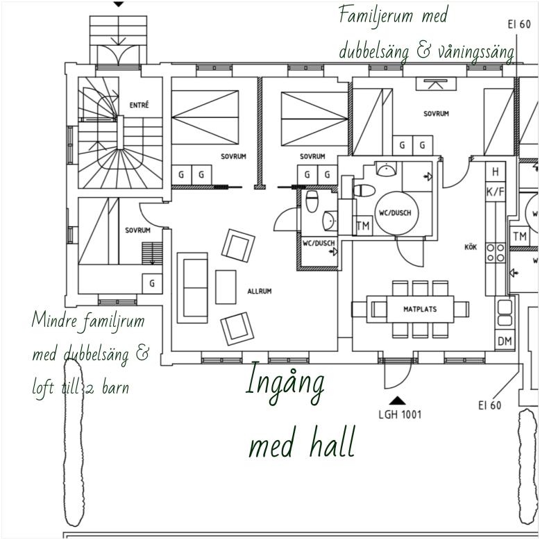 Lägenhet 1 med utgång till terrass med grill